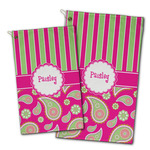 Pink & Green Paisley and Stripes Golf Towel - Full Print w/ Name or Text