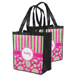 Pink & Green Paisley and Stripes Grocery Bag (Personalized)