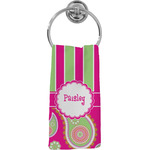 Pink & Green Paisley and Stripes Hand Towel - Full Print (Personalized)