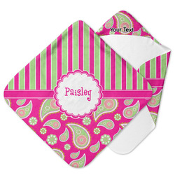 Pink & Green Paisley and Stripes Hooded Baby Towel (Personalized)