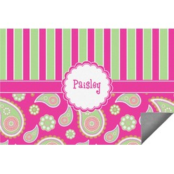 Pink & Green Paisley and Stripes Indoor / Outdoor Rug (Personalized)