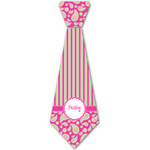 Pink & Green Paisley and Stripes Iron On Tie - 4 Sizes w/ Name or Text