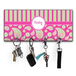 Pink & Green Paisley and Stripes Key Hanger w/ 4 Hooks (Personalized)