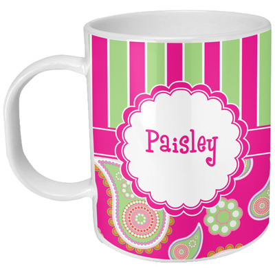 Pink & Green Paisley and Stripes Plastic Kids Mug (Personalized)