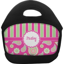 Pink & Green Paisley and Stripes Toddler Lunch Tote (Personalized)