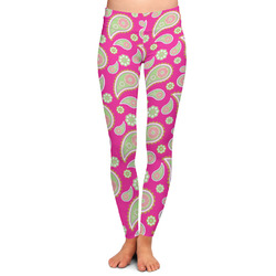 Pink & Green Paisley and Stripes Ladies Leggings (Personalized)