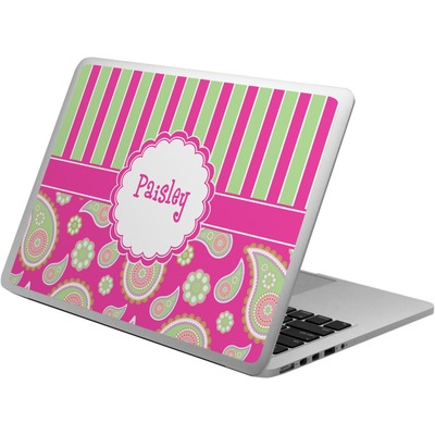 Pink & Green Paisley and Stripes Laptop Skin - Custom Sized (Personalized)