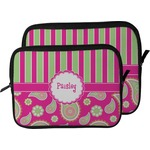 Pink & Green Paisley and Stripes Laptop Sleeve / Case (Personalized)