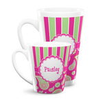 Pink & Green Paisley and Stripes Latte Mug (Personalized)