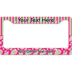 Pink & Green Paisley and Stripes License Plate Frame (Personalized)