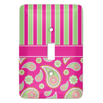 Pink & Green Paisley and Stripes Light Switch Covers (Personalized)