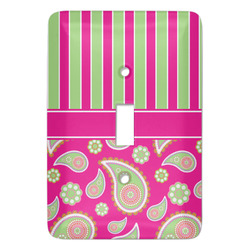 Pink & Green Paisley and Stripes Light Switch Covers - Multiple Toggle Options Available (Personalized)