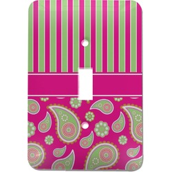 Pink & Green Paisley and Stripes Light Switch Cover (Single Toggle) (Personalized)