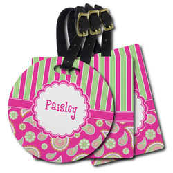 Pink & Green Paisley and Stripes Plastic Luggage Tags (Personalized)
