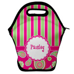 Pink & Green Paisley and Stripes Lunch Bag w/ Name or Text