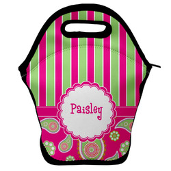 Pink & Green Paisley and Stripes Lunch Bag (Personalized)