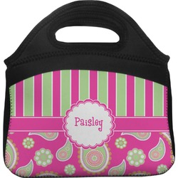 Pink & Green Paisley and Stripes Lunch Tote (Personalized)
