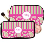 Pink & Green Paisley and Stripes Makeup / Cosmetic Bag (Personalized)