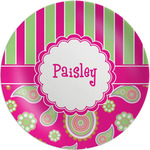 Pink & Green Paisley and Stripes Melamine Plate (Personalized)
