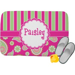 Pink & Green Paisley and Stripes Memory Foam Bath Mat (Personalized)