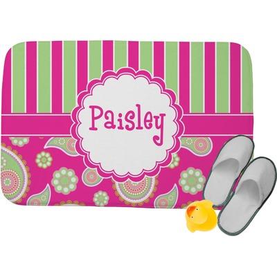 Pink Amp Green Paisley And Stripes Memory Foam Bath Mat