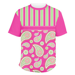 Pink & Green Paisley and Stripes Men's Crew T-Shirt (Personalized)