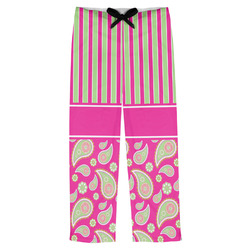 Pink & Green Paisley and Stripes Mens Pajama Pants (Personalized)