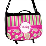 Pink & Green Paisley and Stripes Messenger Bag (Personalized)