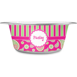 Pink & Green Paisley and Stripes Stainless Steel Dog Bowl (Personalized)