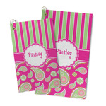 Pink & Green Paisley and Stripes Microfiber Golf Towel (Personalized)