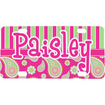 Pink & Green Paisley and Stripes Mini / Bicycle License Plate (4 Holes) (Personalized)