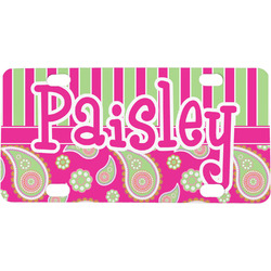 Pink & Green Paisley and Stripes Mini / Bicycle License Plate (Personalized)