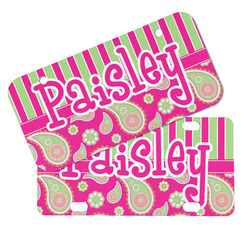 Pink & Green Paisley and Stripes Mini/Bicycle License Plates (Personalized)