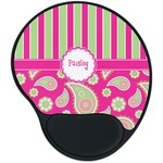 Pink & Green Paisley and Stripes Mouse Pad with Wrist Support