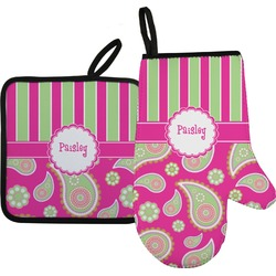 Pink & Green Paisley and Stripes Oven Mitt & Pot Holder (Personalized)