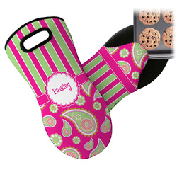 Pink & Green Paisley and Stripes Neoprene Oven Mitt (Personalized)