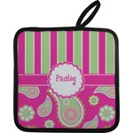 Pink & Green Paisley and Stripes Pot Holder w/ Name or Text