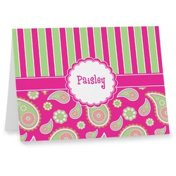 Pink & Green Paisley and Stripes Note cards (Personalized)
