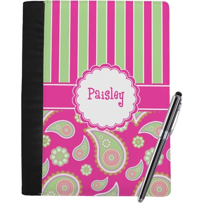 Pink & Green Paisley and Stripes Notebook Padfolio (Personalized)