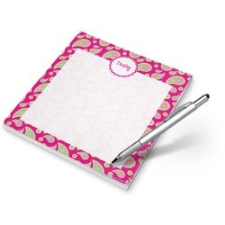 Pink & Green Paisley and Stripes Notepad (Personalized)