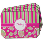 Pink & Green Paisley and Stripes Dining Table Mat - Octagon w/ Name or Text