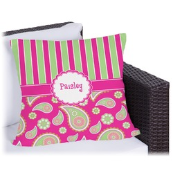 """Pink & Green Paisley and Stripes Outdoor Pillow - 20"""" (Personalized)"""