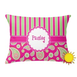Pink & Green Paisley and Stripes Outdoor Throw Pillow (Rectangular) (Personalized)