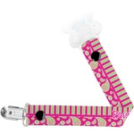 Pink & Green Paisley and Stripes Pacifier Clips (Personalized)
