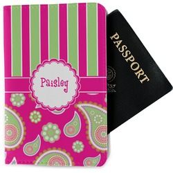 Pink & Green Paisley and Stripes Passport Holder - Fabric (Personalized)
