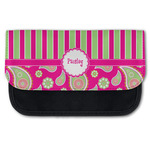 Pink & Green Paisley and Stripes Canvas Pencil Case w/ Name or Text