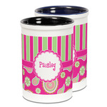 Pink & Green Paisley and Stripes Ceramic Pencil Holder - Large
