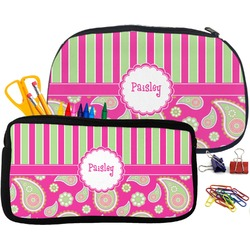 Pink & Green Paisley and Stripes Pencil / School Supplies Bag (Personalized)