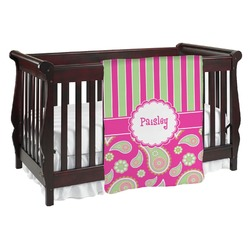 Pink & Green Paisley and Stripes Baby Blanket (Personalized)