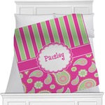 Pink & Green Paisley and Stripes Minky Blanket (Personalized)